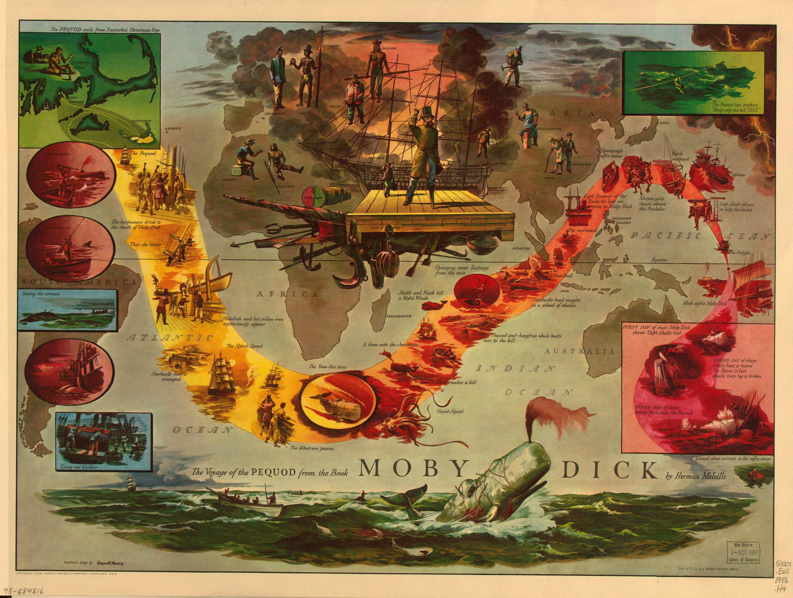 《白鲸》披谷德号(或译裴廓德号)手绘路线图