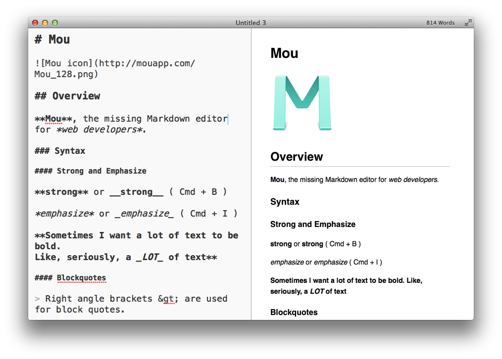 Mac平台Markdown编辑工具:Mou使用体验